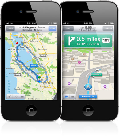 Esq: Google Maps, Dir: Mapas Apple