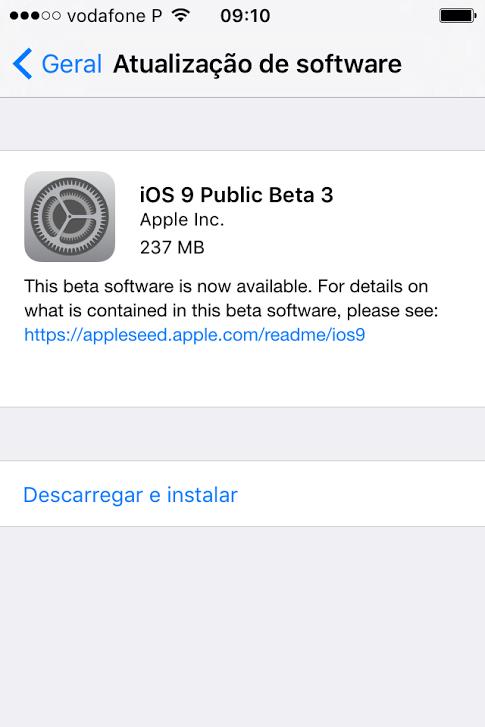 terveiro Beta do iOS 9 público foi lançado