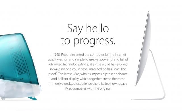 Foi criado uma pequena página para mostrar a evolução do iMac