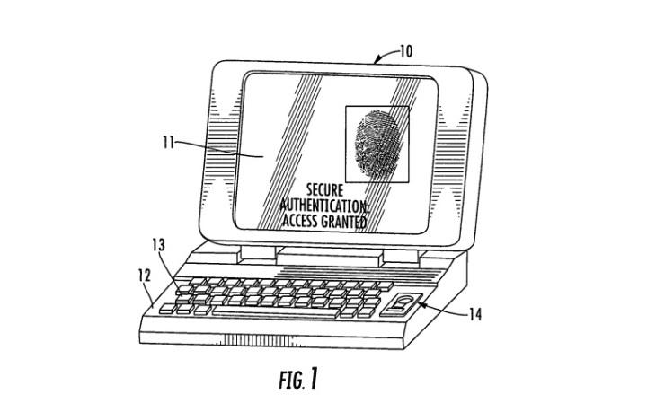 Imagem da patente da Apple para o Touch ID no Macbook