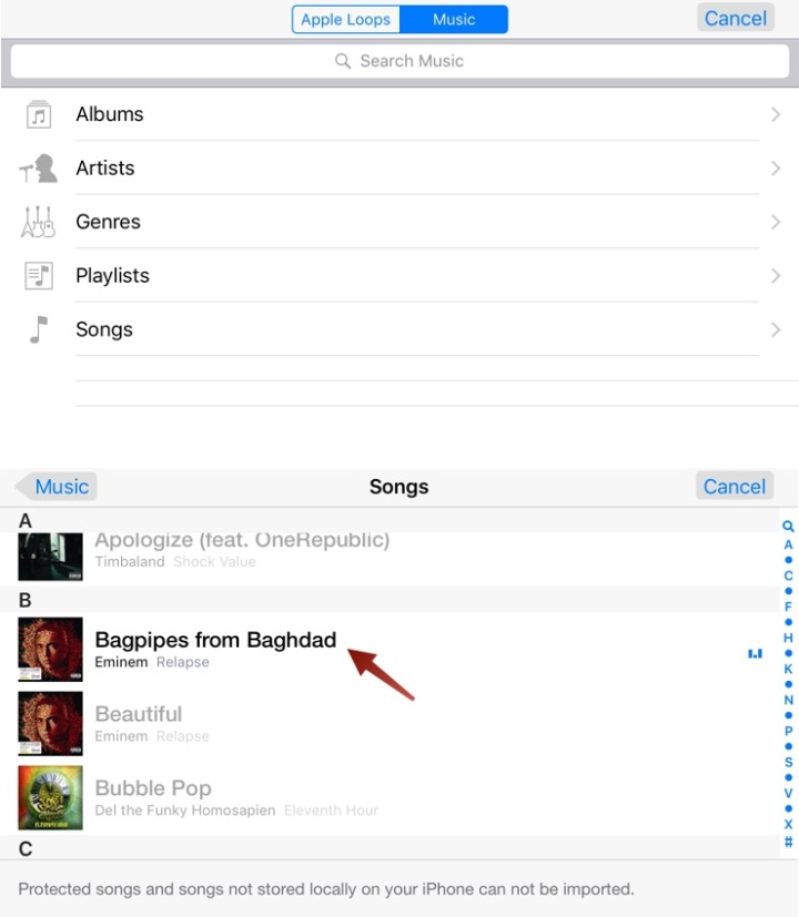 Seleccionar música o futuro é Mac